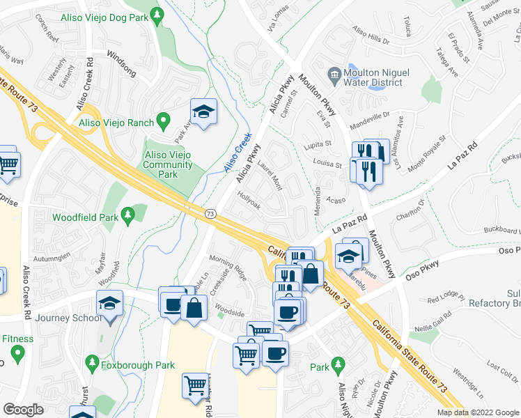 map of restaurants, bars, coffee shops, grocery stores, and more near 24194 Hollyoak in Aliso Viejo
