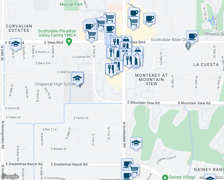 map of restaurants, bars, coffee shops, grocery stores, and more near 9990 North Scottsdale Road in Paradise Valley