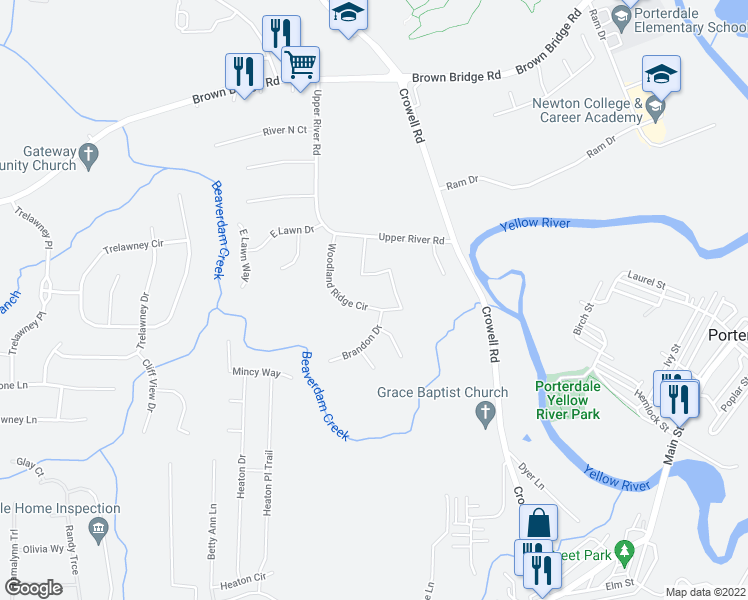 map of restaurants, bars, coffee shops, grocery stores, and more near 1-25 Woodland Ridge Circle in Covington