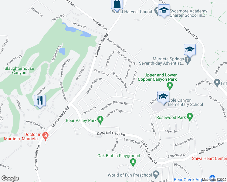 map of restaurants, bars, coffee shops, grocery stores, and more near 23251 Joaquin Ridge Drive in Murrieta