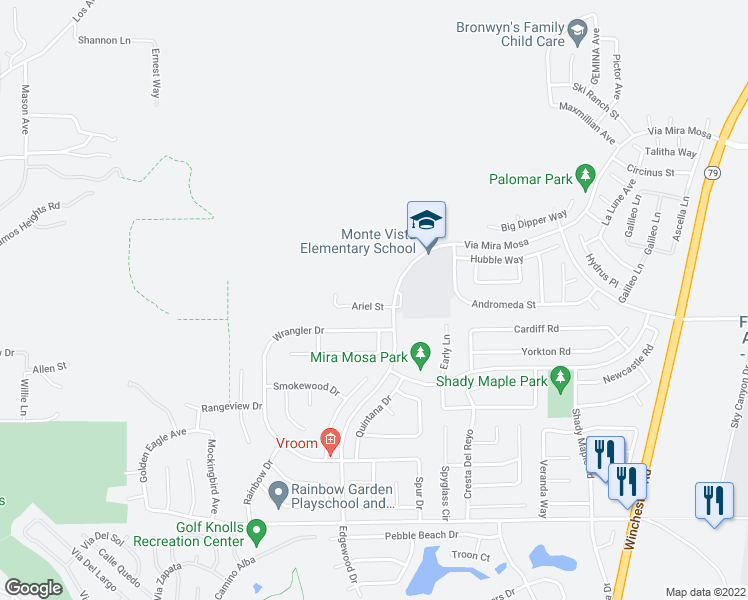 map of restaurants, bars, coffee shops, grocery stores, and more near 29336 Ariel Street in Murrieta