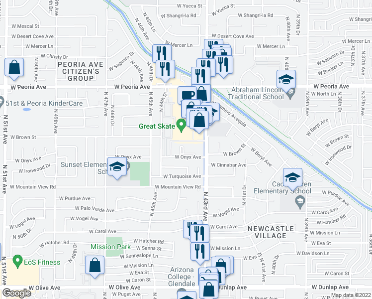 map of restaurants, bars, coffee shops, grocery stores, and more near 10030 North 43rd Avenue in Glendale