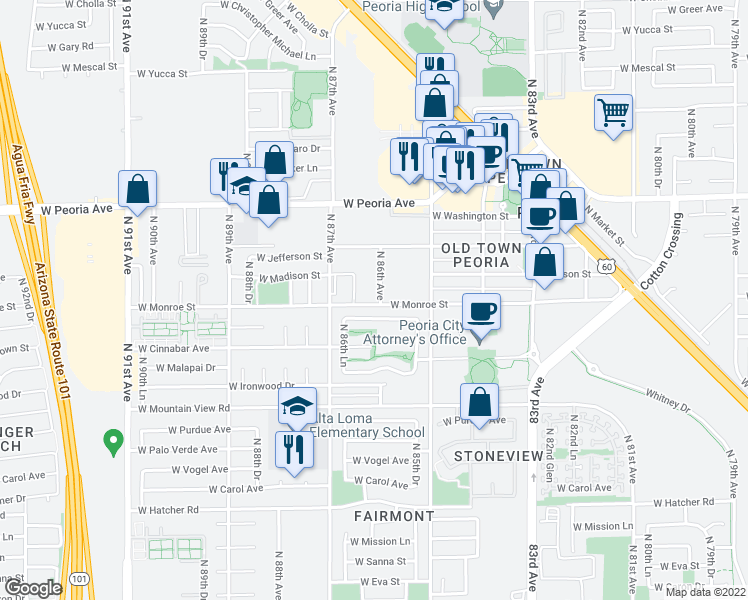 map of restaurants, bars, coffee shops, grocery stores, and more near 8610 West Monroe Street in Peoria