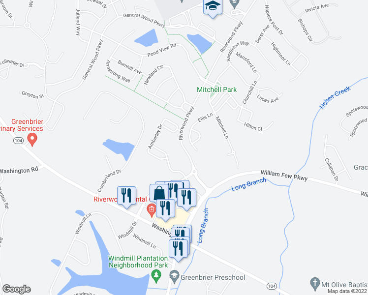 map of restaurants, bars, coffee shops, grocery stores, and more near Riverwood Parkway in Evans