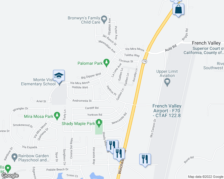 map of restaurants, bars, coffee shops, grocery stores, and more near 37384 Hydrus Place in Murrieta