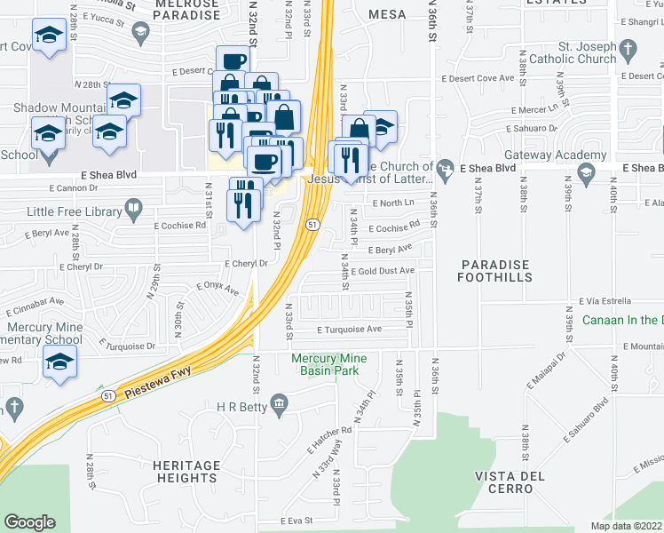 map of restaurants, bars, coffee shops, grocery stores, and more near 3336 East Gold Dust Avenue in Phoenix