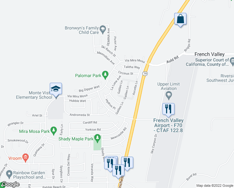 map of restaurants, bars, coffee shops, grocery stores, and more near 37293 Tucana Pl in Murrieta
