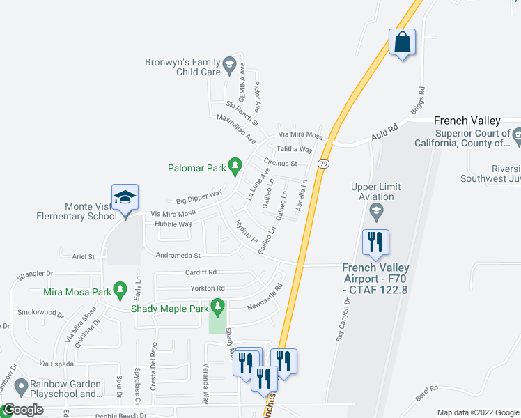 map of restaurants, bars, coffee shops, grocery stores, and more near 37293 Tucana Place in Murrieta
