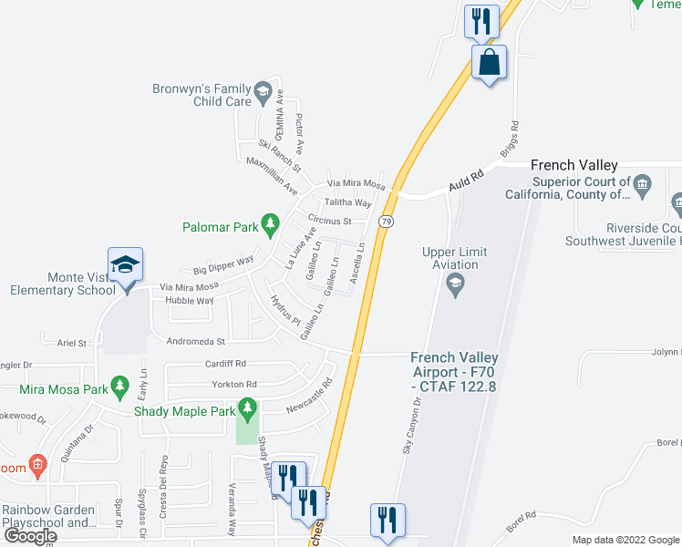 map of restaurants, bars, coffee shops, grocery stores, and more near 37192 Galileo Lane in Murrieta