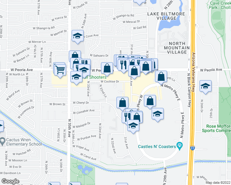 map of restaurants, bars, coffee shops, grocery stores, and more near 3119 West Cochise Drive in Phoenix