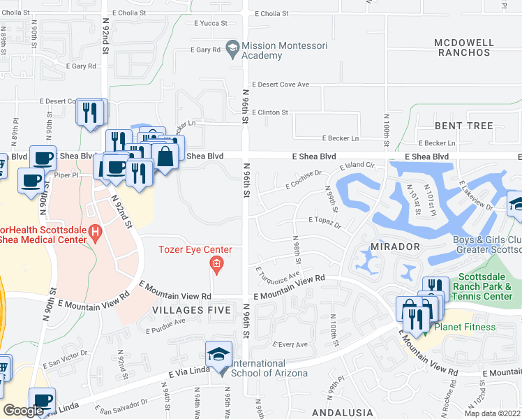 map of restaurants, bars, coffee shops, grocery stores, and more near 10228 North 96th Place in Scottsdale