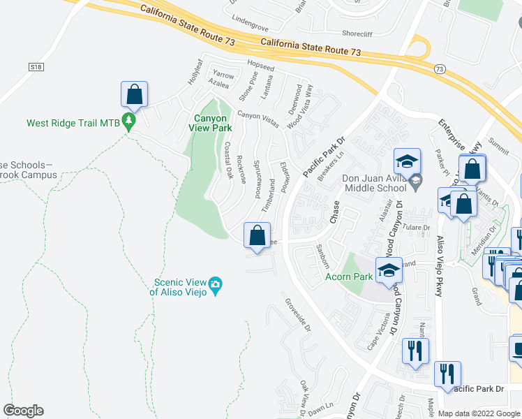 map of restaurants, bars, coffee shops, grocery stores, and more near 65 Timberland in Aliso Viejo