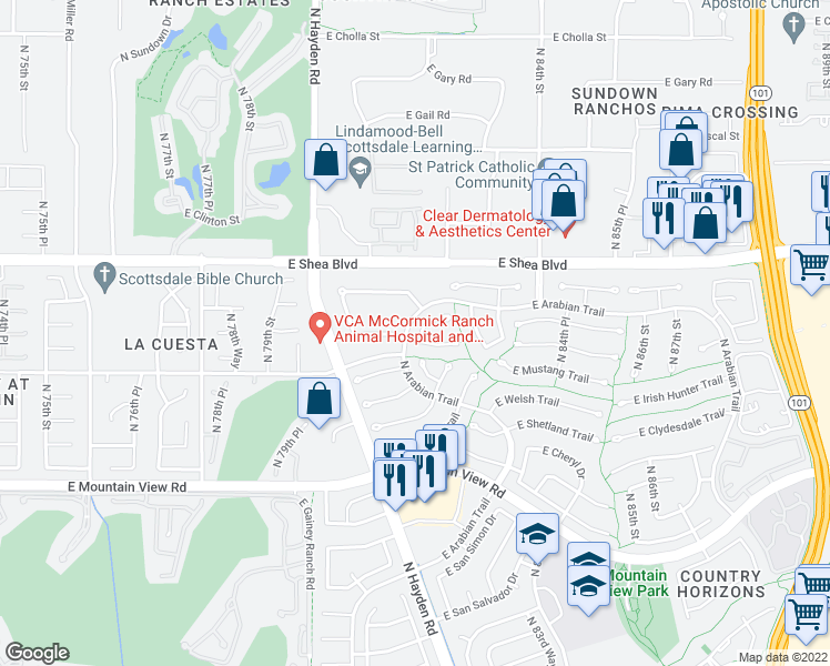 map of restaurants, bars, coffee shops, grocery stores, and more near 10406 North 82nd Street in Scottsdale