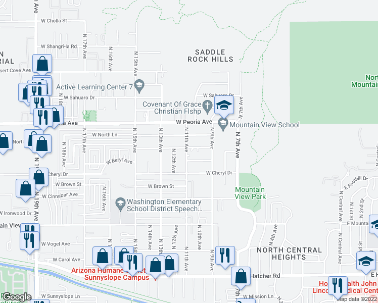map of restaurants, bars, coffee shops, grocery stores, and more near 1025 West Cochise Drive in Phoenix