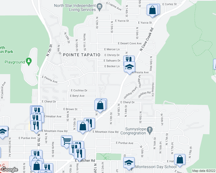 map of restaurants, bars, coffee shops, grocery stores, and more near 10410 North Cave Creek Road in Phoenix