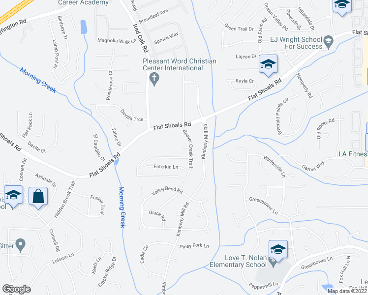 map of restaurants, bars, coffee shops, grocery stores, and more near 607 Enterkin Court in Atlanta