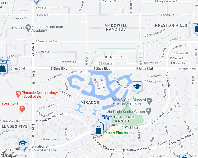 map of restaurants, bars, coffee shops, grocery stores, and more near 10135 East Cochise Drive in Scottsdale