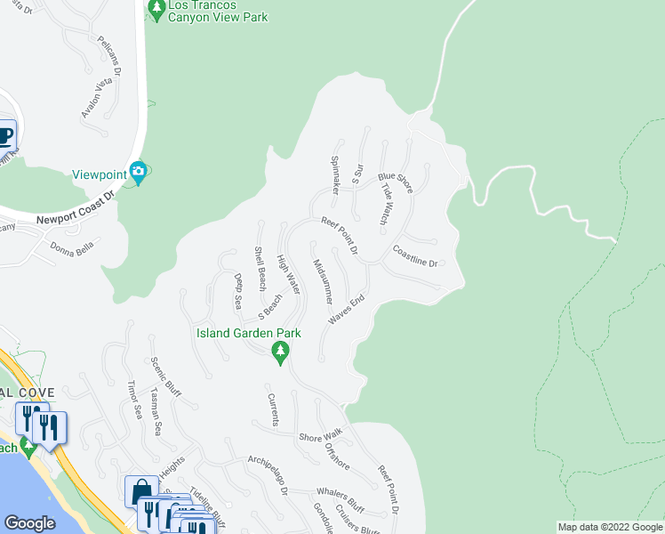 map of restaurants, bars, coffee shops, grocery stores, and more near 10 Coral Ridge in Laguna Niguel