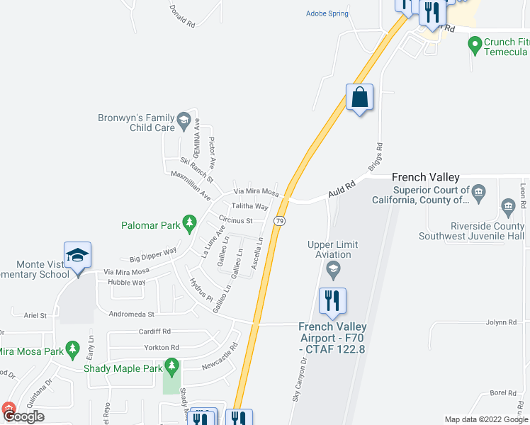 map of restaurants, bars, coffee shops, grocery stores, and more near 29923 Talitha Way in Murrieta