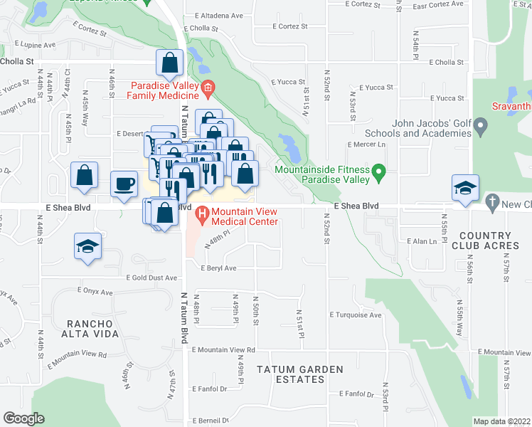 map of restaurants, bars, coffee shops, grocery stores, and more near 5020 East Cannon Drive in Paradise Valley