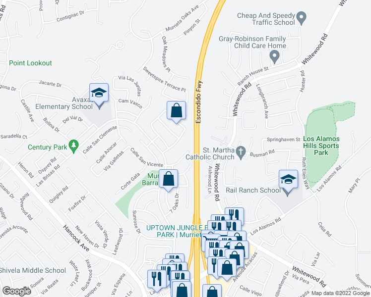 map of restaurants, bars, coffee shops, grocery stores, and more near 24870 Walnut Creek Circle in Murrieta