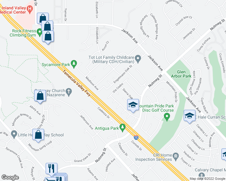map of restaurants, bars, coffee shops, grocery stores, and more near 41219 Vía Cedro in Murrieta