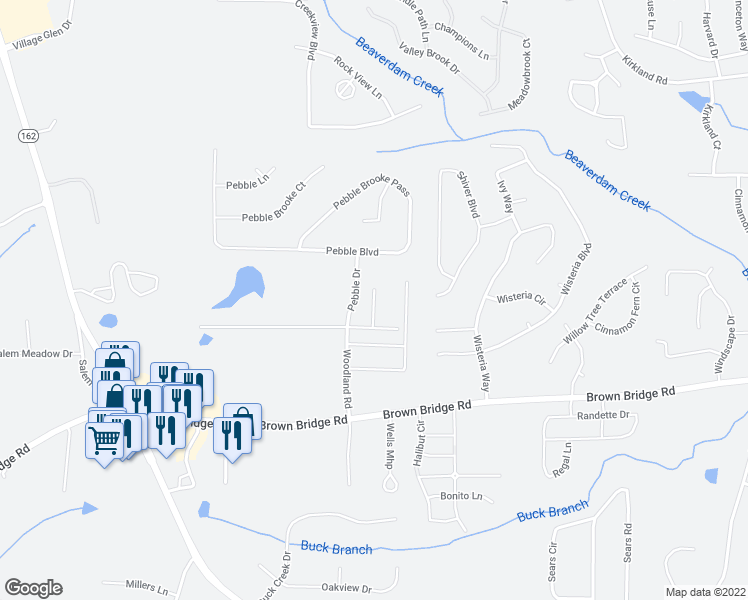 map of restaurants, bars, coffee shops, grocery stores, and more near 70 Chapman Way in Covington