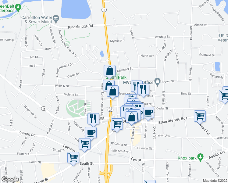 map of restaurants, bars, coffee shops, grocery stores, and more near 405 North Park Street in Carrollton
