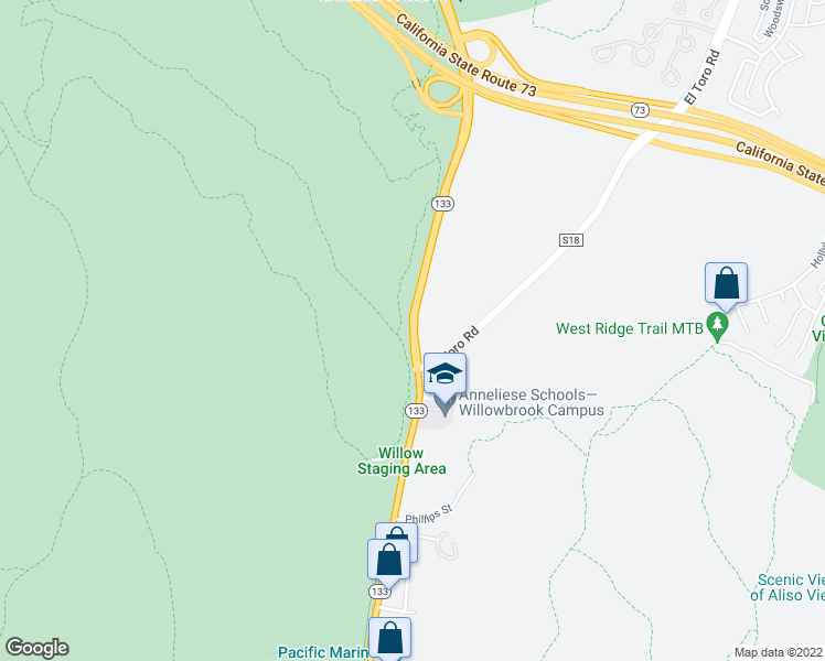 map of restaurants, bars, coffee shops, grocery stores, and more near Laguna Canyon Road in Laguna Beach