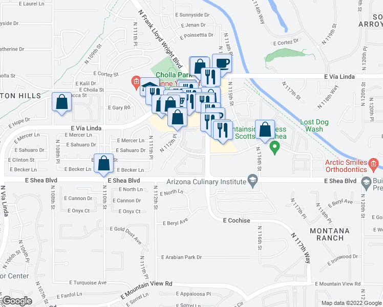 map of restaurants, bars, coffee shops, grocery stores, and more near 7 North Apartment in Scottsdale