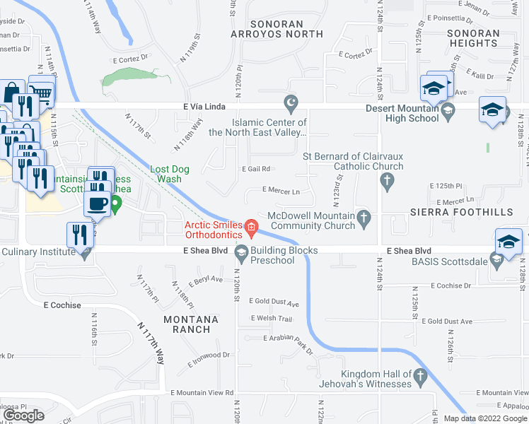 map of restaurants, bars, coffee shops, grocery stores, and more near 12078 East Clinton Street in Scottsdale