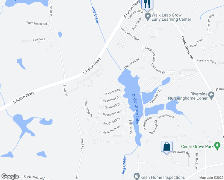 map of restaurants, bars, coffee shops, grocery stores, and more near 7979 Larksview Drive in Fairburn