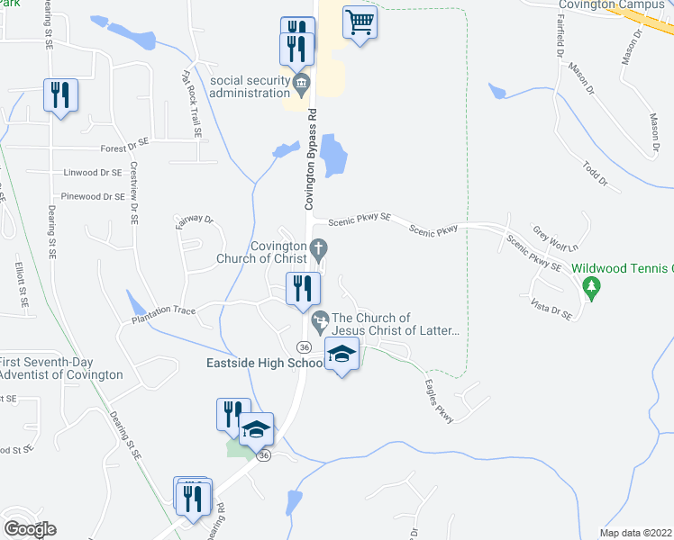 map of restaurants, bars, coffee shops, grocery stores, and more near 185 Rockingham Drive in Covington