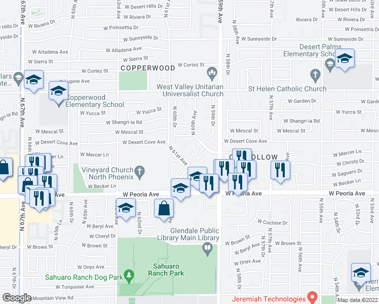 map of restaurants, bars, coffee shops, grocery stores, and more near 5945 West Desert Cove Avenue in Glendale