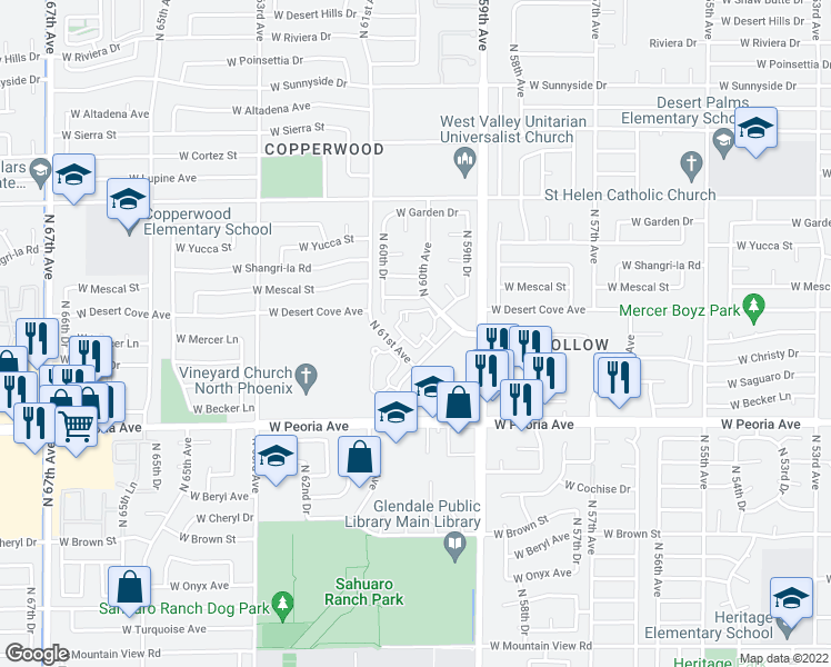 map of restaurants, bars, coffee shops, grocery stores, and more near 5945 Desert Cove Avenue in Glendale