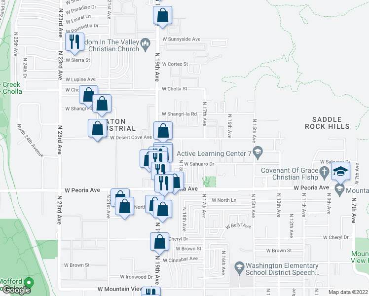 map of restaurants, bars, coffee shops, grocery stores, and more near 10827 North 18th Avenue in Phoenix