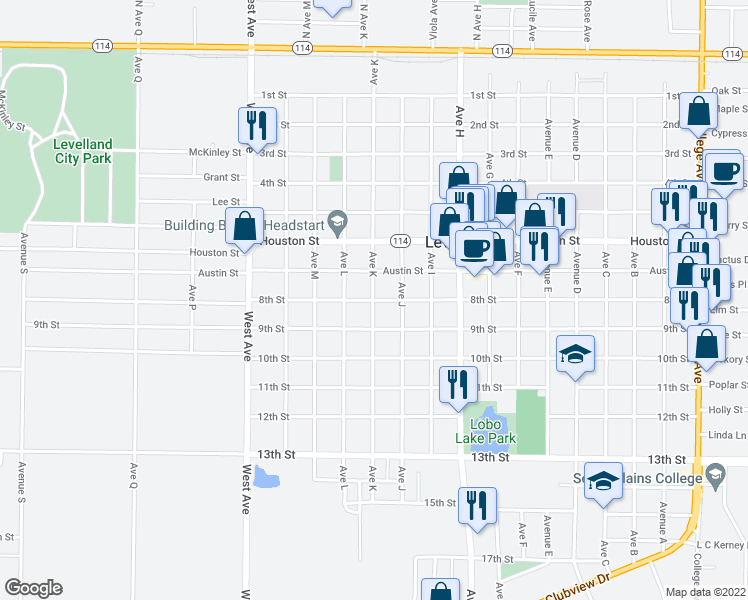 map of restaurants, bars, coffee shops, grocery stores, and more near 8th Street in Levelland