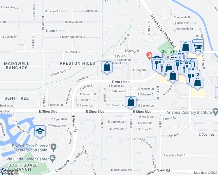 map of restaurants, bars, coffee shops, grocery stores, and more near 10851 East Mercer Lane in Scottsdale