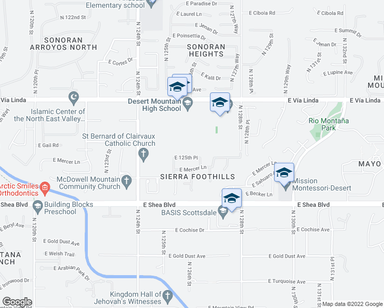 map of restaurants, bars, coffee shops, grocery stores, and more near 12590 East Desert Cove Avenue in Scottsdale