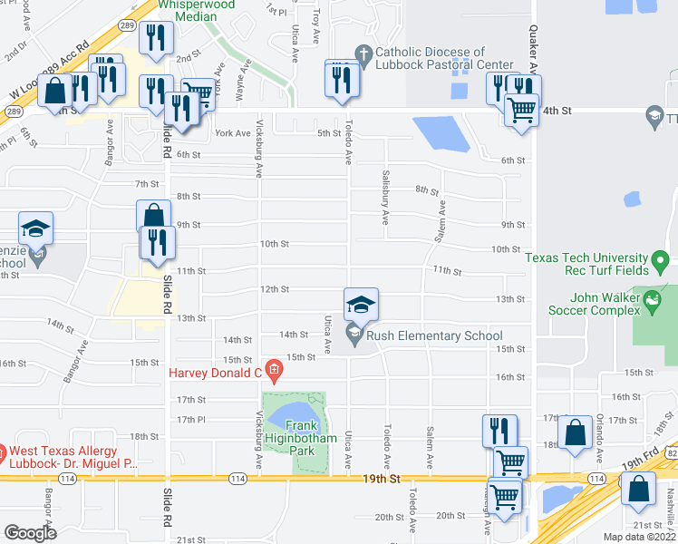 map of restaurants, bars, coffee shops, grocery stores, and more near 4803 11th Street in Lubbock