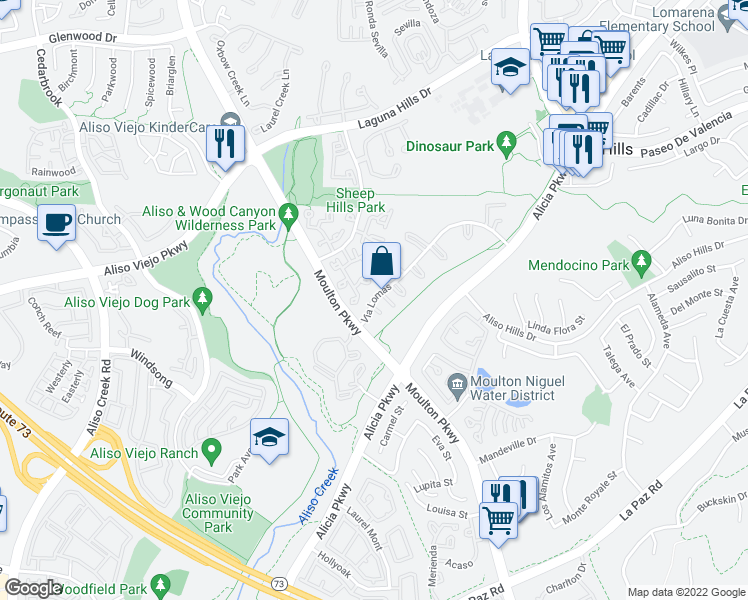 map of restaurants, bars, coffee shops, grocery stores, and more near 25751-25775 Via Lomas in Laguna Hills