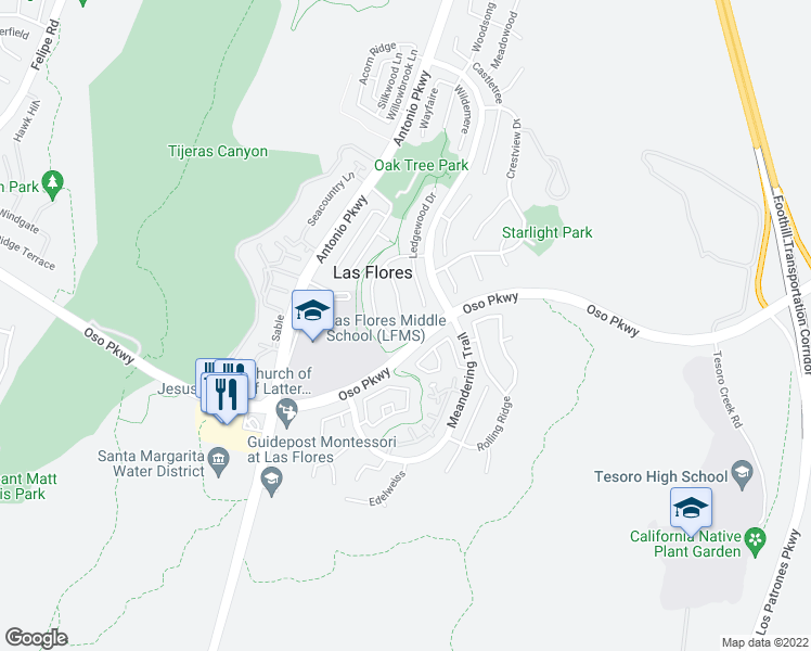 map of restaurants, bars, coffee shops, grocery stores, and more near 92 Sunnydale Lane in Rancho Santa Margarita