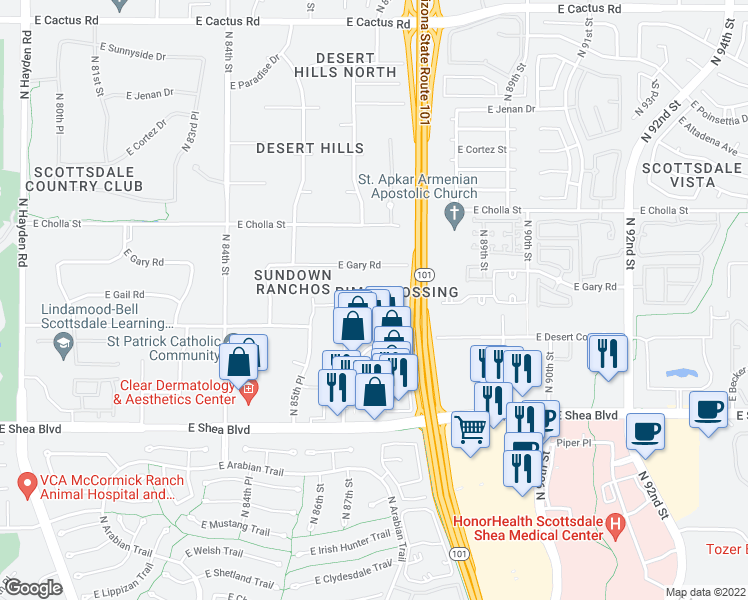 map of restaurants, bars, coffee shops, grocery stores, and more near 8685 East Gail Road in Scottsdale