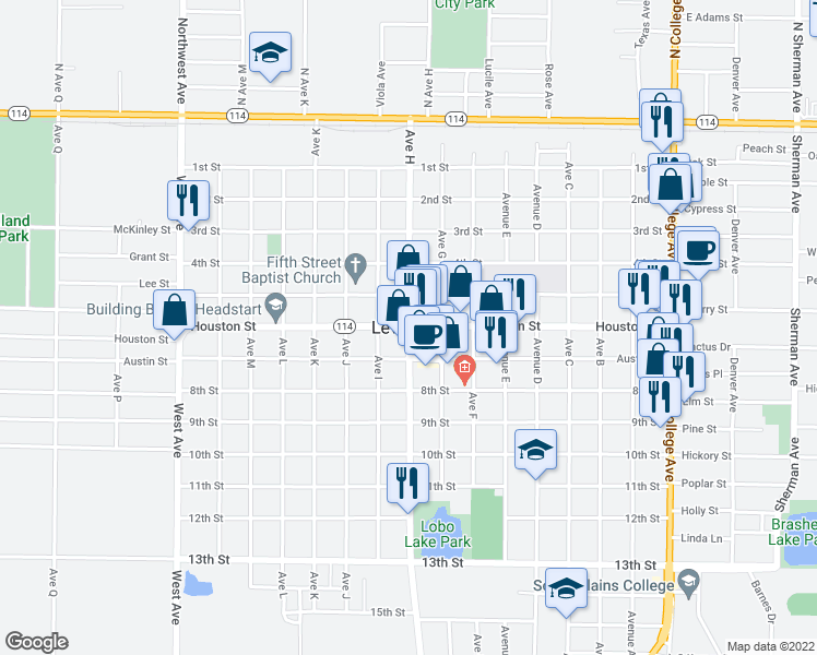 map of restaurants, bars, coffee shops, grocery stores, and more near Usa Road in Levelland
