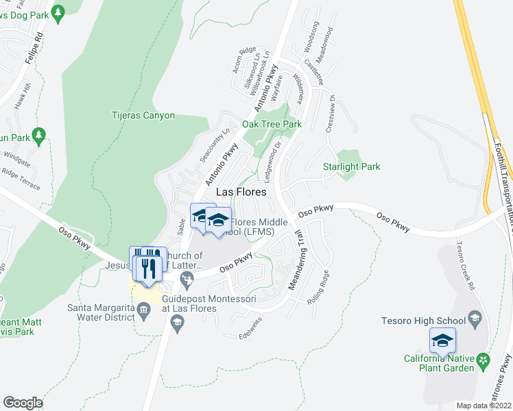 map of restaurants, bars, coffee shops, grocery stores, and more near 67 Sunnydale Lane in Rancho Santa Margarita