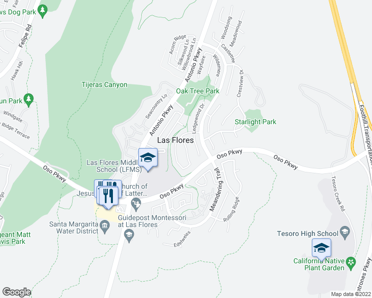 map of restaurants, bars, coffee shops, grocery stores, and more near 69 Sunnydale Lane in Rancho Santa Margarita