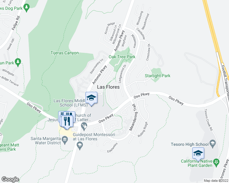 map of restaurants, bars, coffee shops, grocery stores, and more near 73 Sunnydale Lane in Rancho Santa Margarita