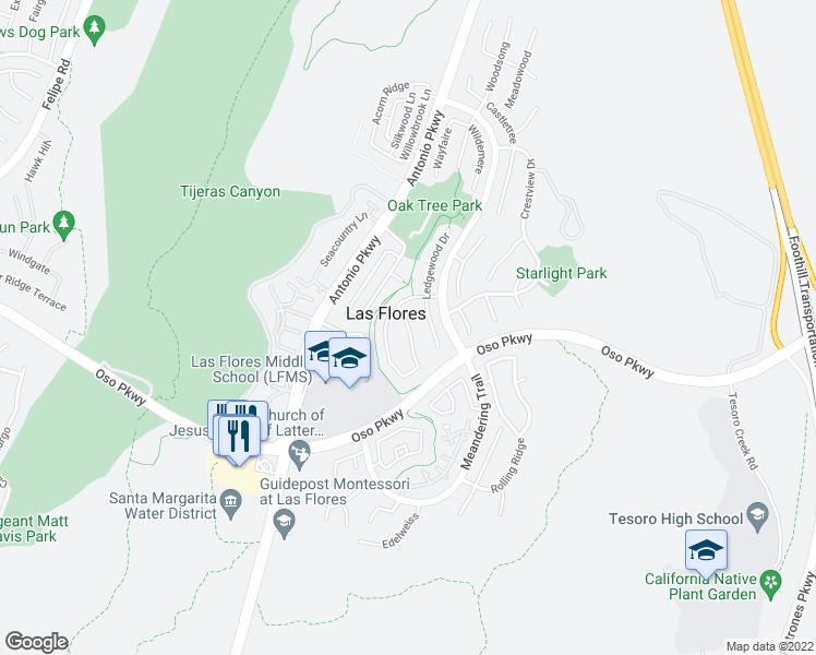 map of restaurants, bars, coffee shops, grocery stores, and more near 75 Sunnydale Lane in Rancho Santa Margarita
