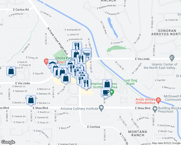 map of restaurants, bars, coffee shops, grocery stores, and more near 11101-11229 North 115th Street in Scottsdale
