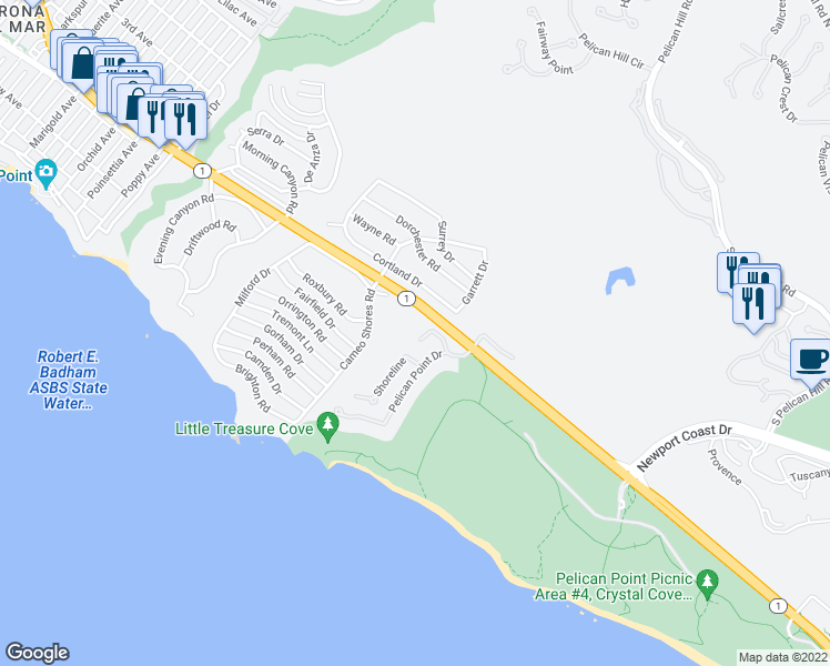 map of restaurants, bars, coffee shops, grocery stores, and more near 7 Shoreview Drive in Newport Beach